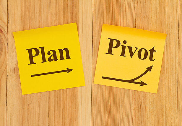 plan sticky note and pivot sticky note on wood background